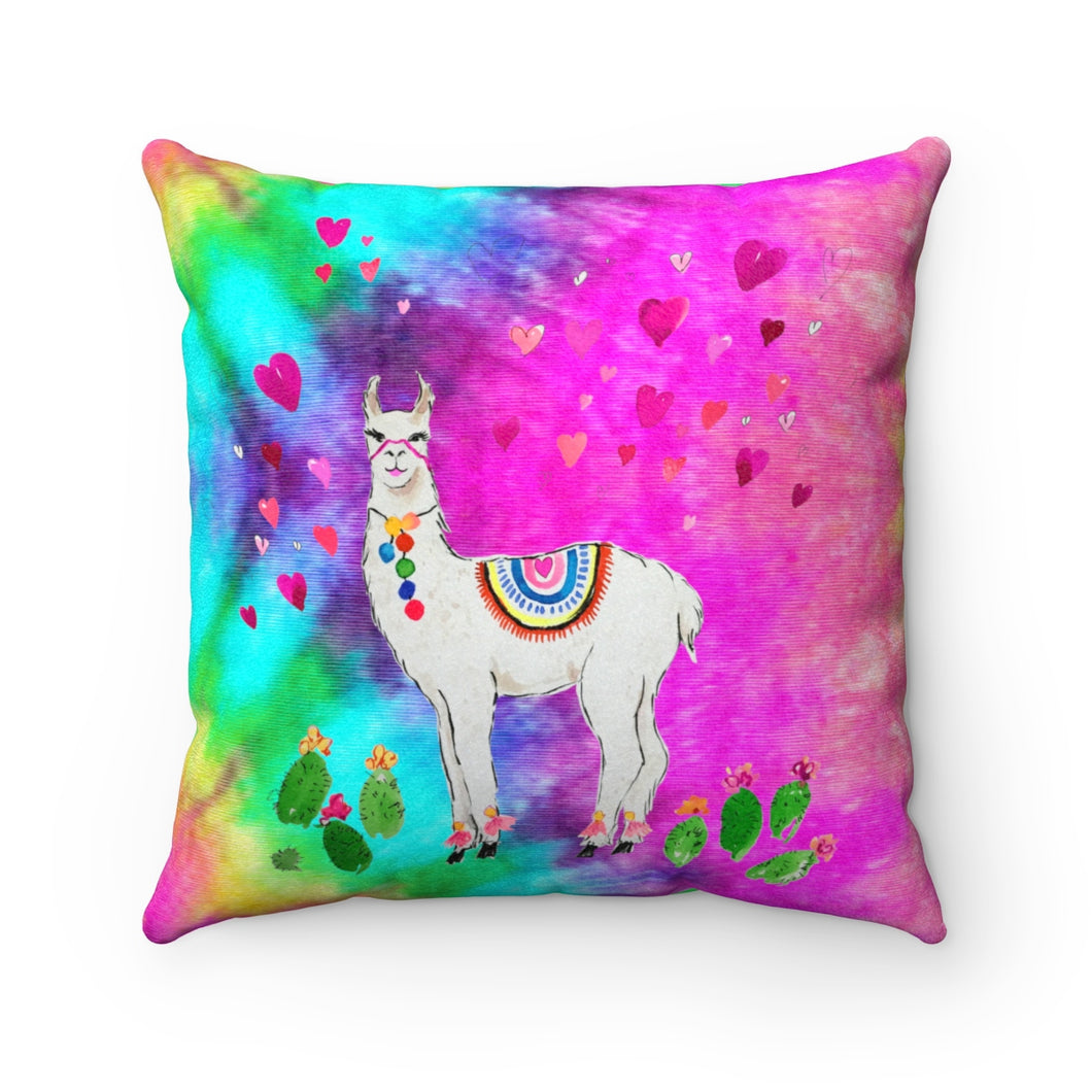 All Love Llama Tye Dye Faux Suede Square Pillow