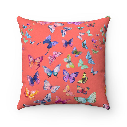 Butterfly Swarm Coral Faux Suede Square Pillow