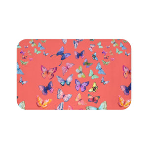 Butterfly Swarm Coral Bath Mat
