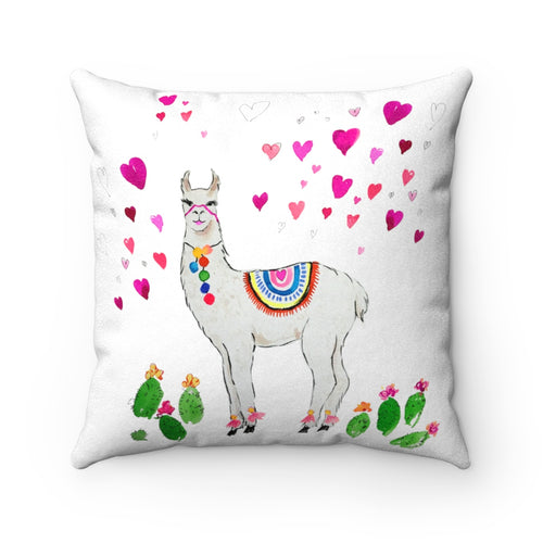 All Love Llama Faux Suede Square Pillow