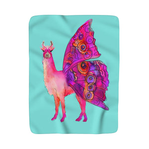 Butterfly Llama Aqua Sherpa Fleece Blanket