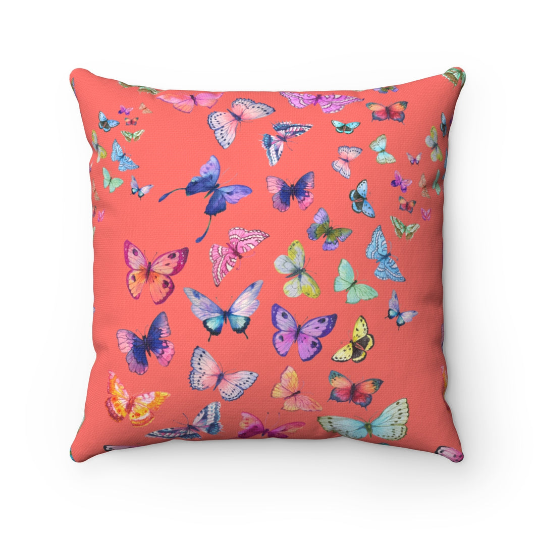 Butterfly Swarm Coral Spun Polyester Square Pillow