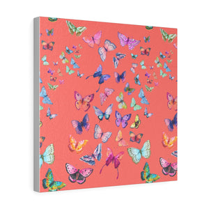 Butterfly Swarm Coral Square Leather Gallery Wrap Print
