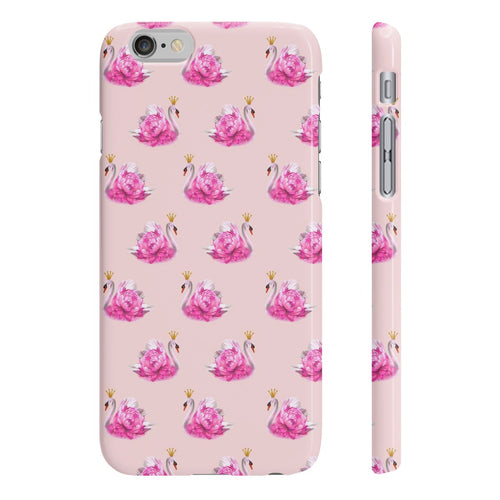 Crowned Swan Blush Slim Phone Case