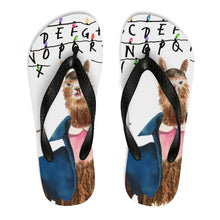 11 Llama: Stranger Things Close Up Unisex Flip-Flops