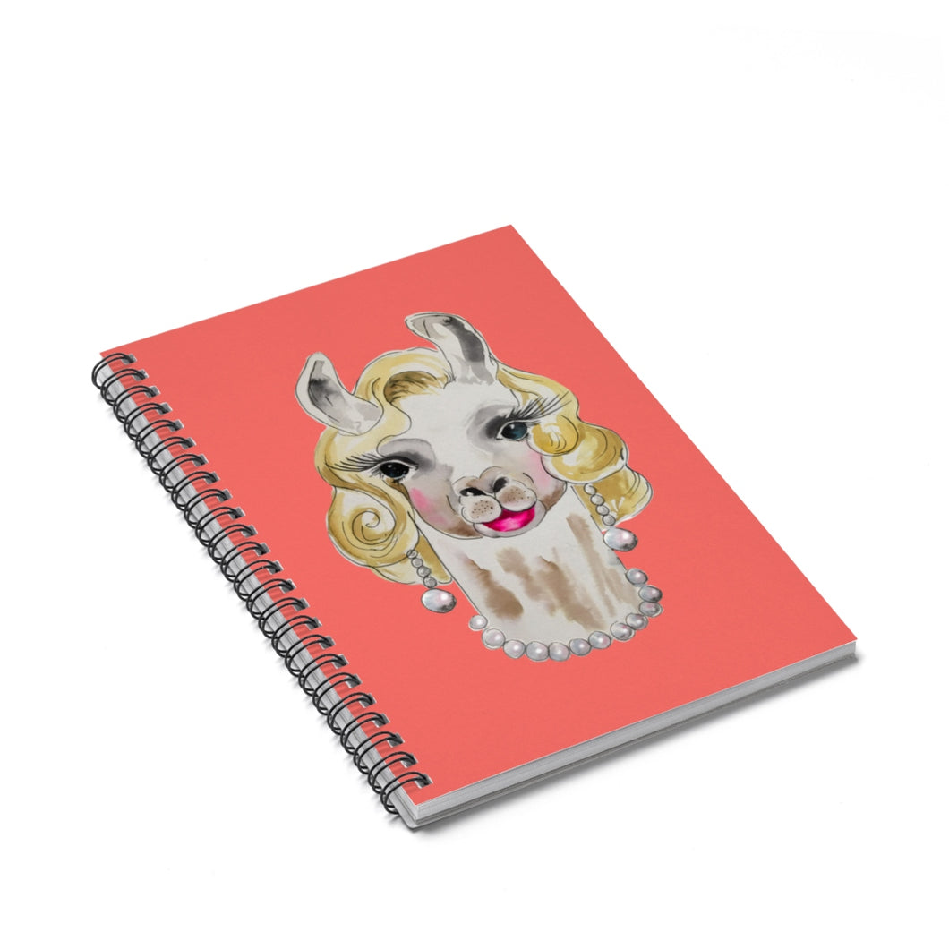 Marilyn Llama Coral Spiral Notebook - Ruled Line