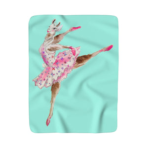 Balletllama Tutu Aqua Sherpa Fleece Blanket