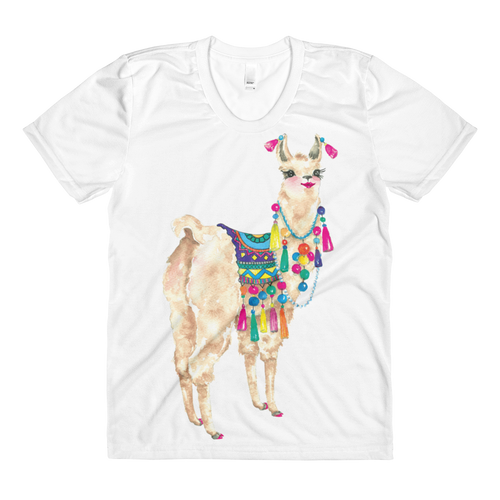 Bollyllama Sublimation Women's Crew Neck T-Shirt