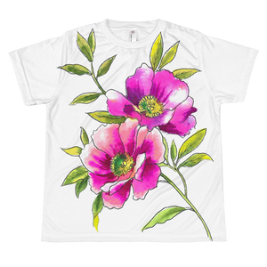 Watercolor Anemones Youth Sublimation T-Shirt
