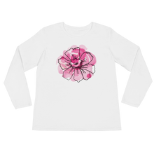 Black Anemone & Pink Watercolor Ladies Long Sleeve T-Shirt