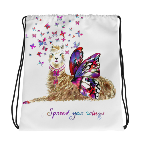 Spread Your Wings Llama Text Drawstring Bag