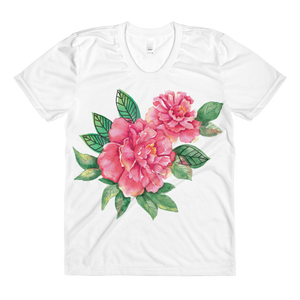 Pink Peonies Sublimation Women's Crew Neck T-Shirt