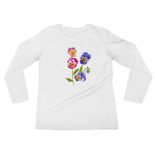 Colorful Pansies Ladies Long Sleeve T-Shirt
