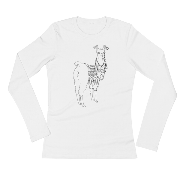 Bollyllama Outline Ladies Long Sleeve T-Shirt