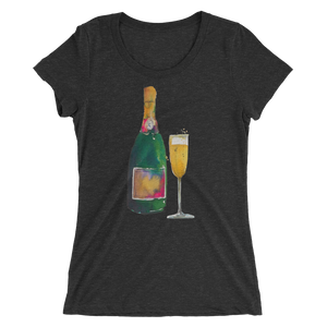 Champagne & Glass Ladies Short Sleeve T-Shirt
