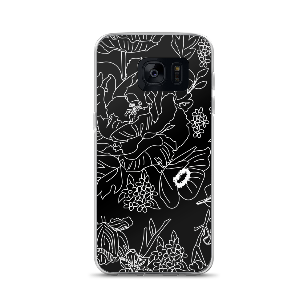Black & White Floral Lace Samsung Case