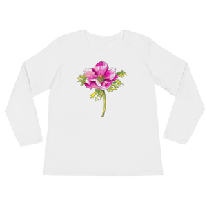 Hot Pink Anemone Ladies Long Sleeve T-Shirt