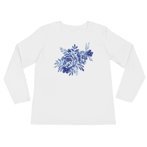 Blue Flowers Ladies Long Sleeve T-Shirt
