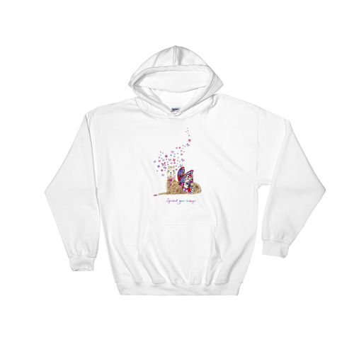 Spread Your Wings Llama Text Hooded Sweatshirt