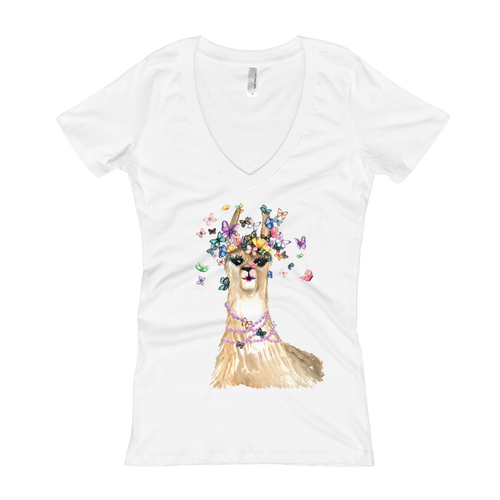 Flutterllama Full Women's V-Neck T-Shirt