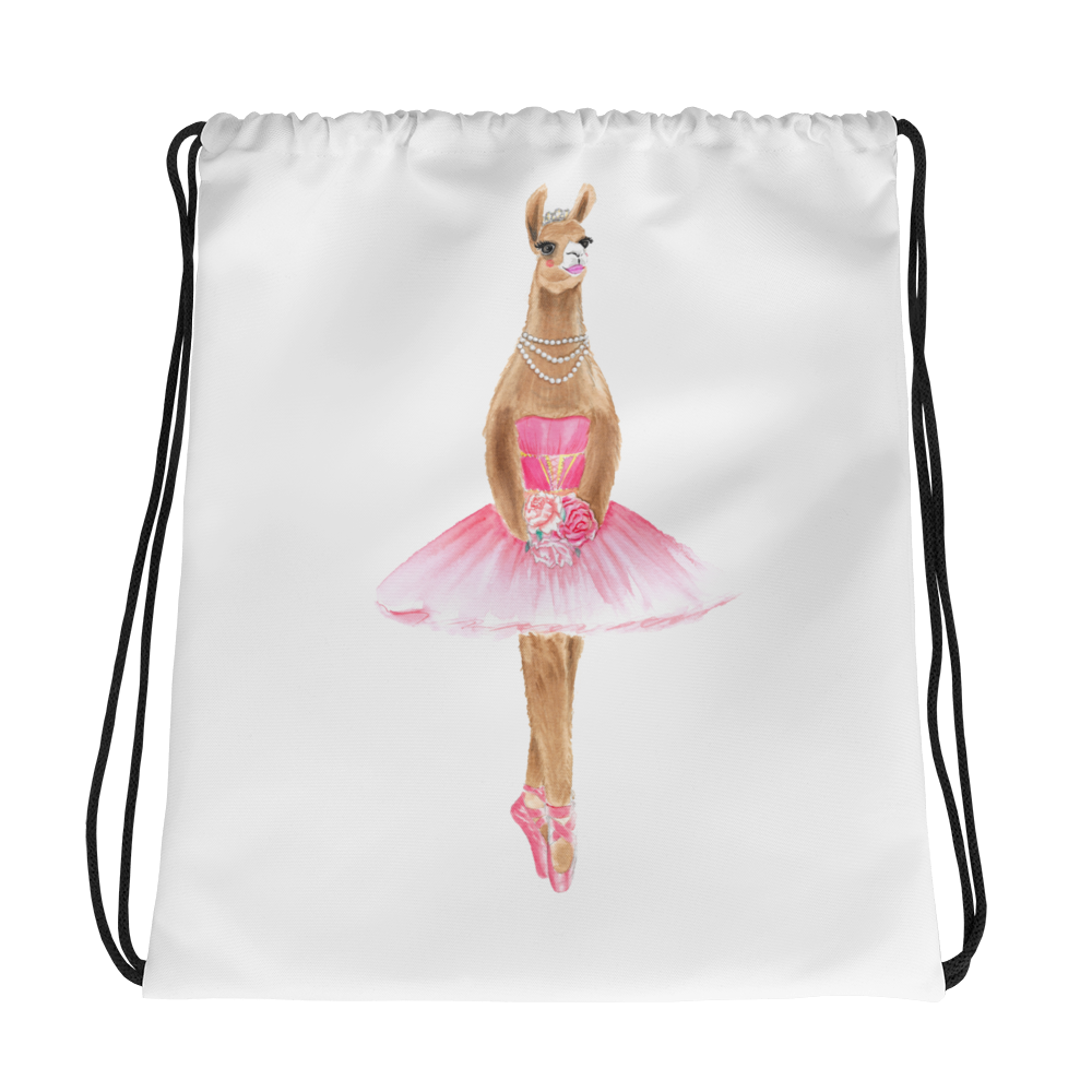 Balletllama Pink Drawstring Bag