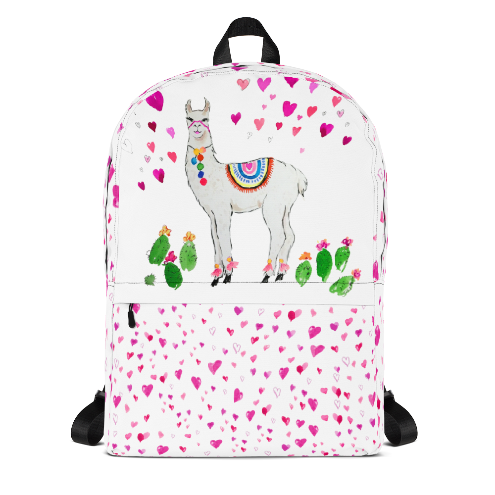All Love Llama Hearts School Backpack