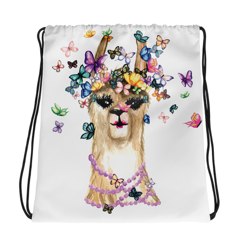 Flutterllama Drawstring Bag