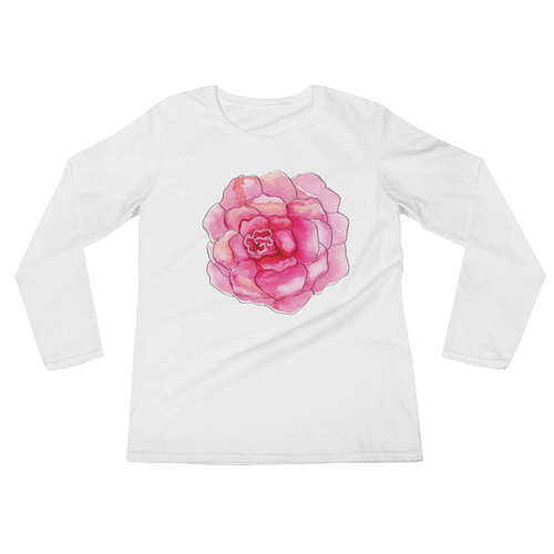 Pink Camelia Bloom Ladies Long Sleeve T-Shirt