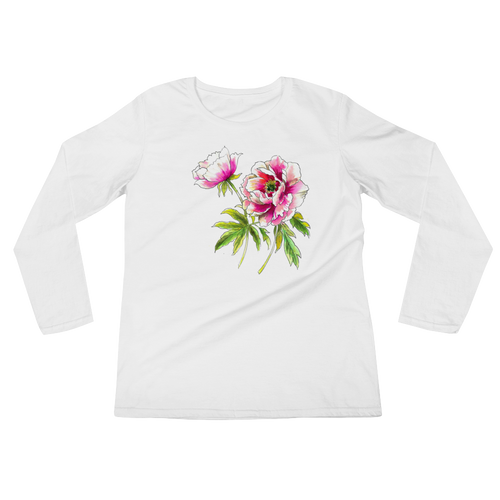 Peony Flowers Ladies Long Sleeve T-Shirt