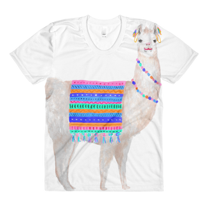 Lovely Llama Sublimation Women's Crew Neck T-Shirt