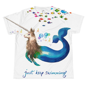 Narwhallama Just Keep Swimming Youth Sublimation T-Shirt