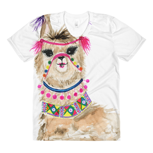 Fiesta Llama Sublimation Women's Crew Neck T-Shirt