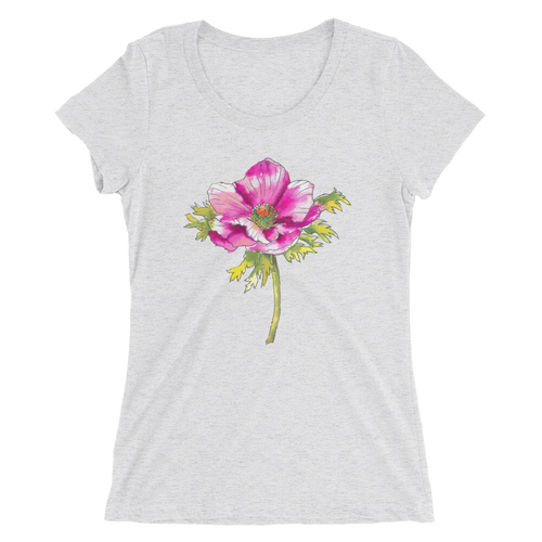 Hot Pink Anemone Ladies Short Sleeve T-Shirt