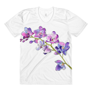 Purple Orchids Sublimation Women's Crew Neck T-Shirt