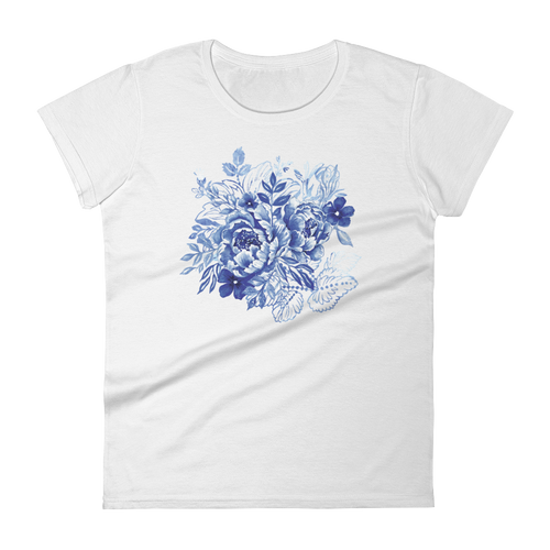 Blue Flower Layers Women's Short Sleeve T-Shirt