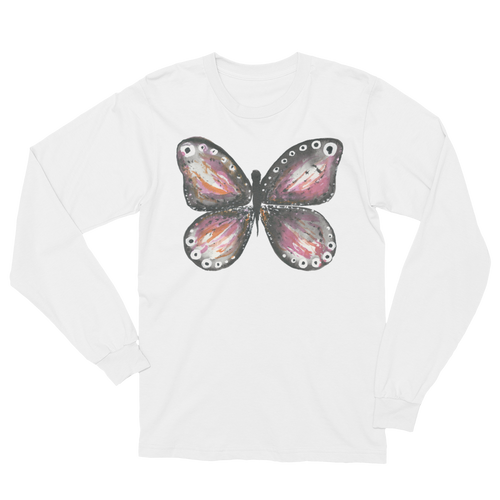 Burgandy Butterfly Long Sleeve T-Shirt Unisex