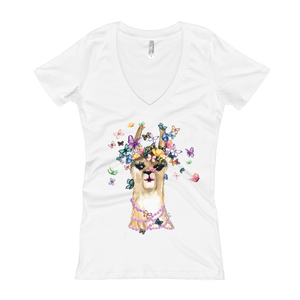 Flutterllama Women's V-Neck T-Shirt