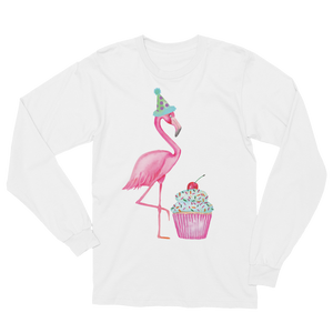 Fran The Birthday Flamingo Cupcake Long Sleeve T-Shirt Unisex