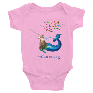 Narwhallama Just Keep Swimming Infant Bodysuit