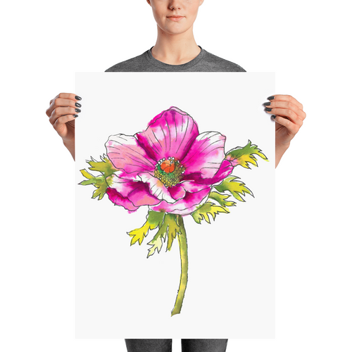 Hot Pink Anemone Poster