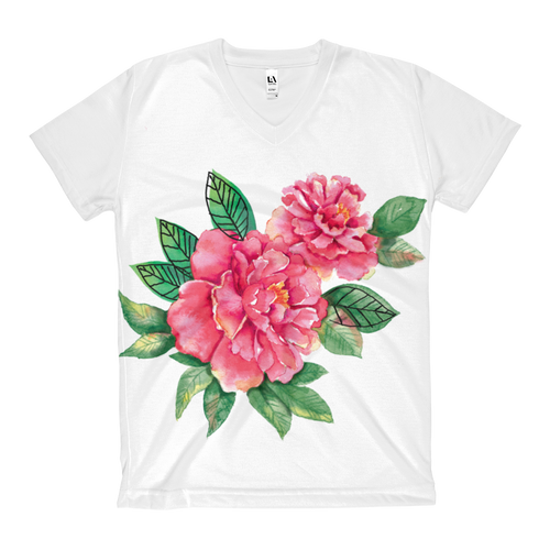 Pink Peonies Women's V-Neck T-Shirt