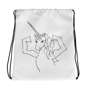 Flexing Unicorn Drawstring Bag