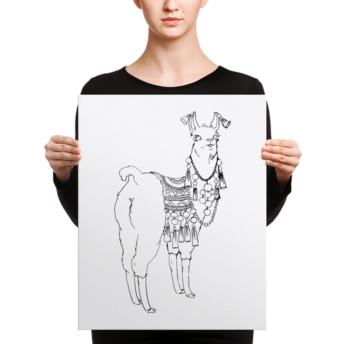 Bollyllama Outline Canvas
