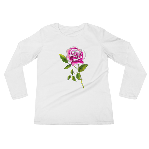 Pink Rose Ladies Long Sleeve T-Shirt