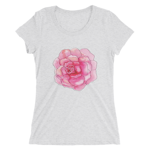 Pink Camelia Bloom Ladies Short Sleeve T-Shirt