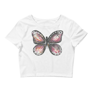Burgandy Butterfly Fitted Women's Crop Tee