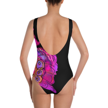 Butterfly Llama Black One-Piece Swimsuit