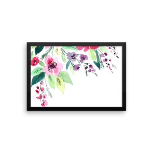 Watercolor Flowers Framed Poster