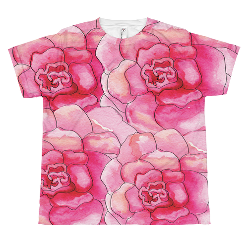 Pink Camelia Blooms Youth Sublimation T-Shirt