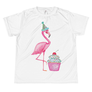 Fran The Birthday Flamingo Cupcake Youth Sublimation T-Shirt